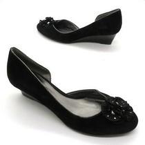 Bandolino Size 8 Black Suede d'orsay Wedge Applique Flower Floral Heels Pumps Photo