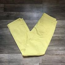 Bandolino Size 8p Pants Solid Yellow Denim Five Pocket Mandie Style Mid Rise  Photo