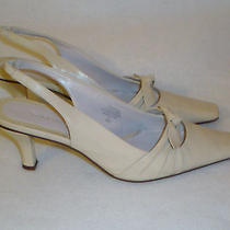 Bandolino Slingback Kitten Heels-Leather Upper-Size 6.5m-Gently Worn-2.50