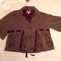 Bandolino Stretch Skirt Suit Size M Medium Brown Wrap Tie Jacket Size 12 Skirt Photo