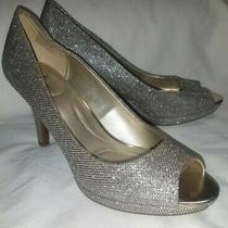 Bandolino Supermodel Silver Sparkle Shiny Peep-Toe Heels Pumps Shoes 9 M New Photo