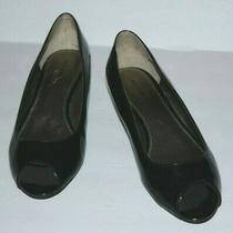 Bandolino Sylvana Black Patent Wedge Peep Toe Pumps Women Sz 6.5 M Guc Photo