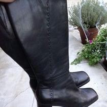 Bandolino Tall Black Leather Zip Up Boots Very Nice Size 9m With Side Stitching  Photo