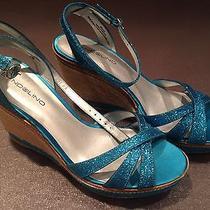 Bandolino Turquoise Wedge Sandal 8m New in Box Photo