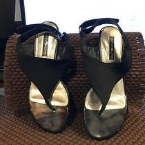 Bandolino Wedge Sandal Shoes Small Heel Black 6 1/2 M Photo