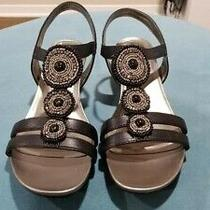 Bandolino Wedge Sling Back Open Toe Sandals Black Size 8.5 M Photo