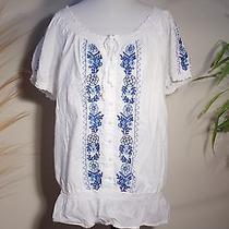 Bandolino White Cotton on Off Shoulder Blouson Cotton Embroidered Blouse Xl Photo