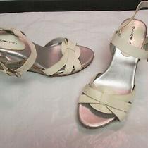 Bandolino White/silver Strappy Platform Wedge Sandals Size 6.5 Photo