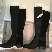Bandolino Womens 7 W Wide Leather Tall Boots Black New Nib Stretchy Calf Photo