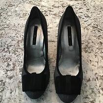 Bandolino Womens Alleva 7m Bow Grey Black Pump Heels Bd7alleva Photo
