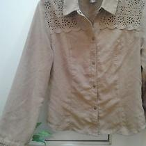 Bandolino Women's Beige Tan Button Down Shirt Top Blouse