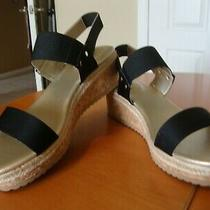 Bandolino Women's Black Grace Wedge Sandal Size 8.5 M Nib Msrp 69 Photo