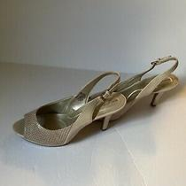 Bandolino Women's Dressy Shoes Heels  Size 8m  Shiny Beige W/snakeskin Open Toe Photo