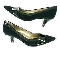 Bandolino Women's Pointed Toe Career Shoes Bro & Black Kitten Heels Size 6 Metal Photo