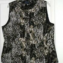 Bandolino Women's Quilted Vest Size M Black Green Leopard Print Nwt Photo