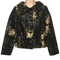 Bandolino Womens Shimmering Floral Blazer Size 8 Black Wear to Work Career Photo