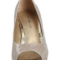 Bandolino Women's Wedding Dress Heel Shoe Pump Mylah Fabric Peep Toe Gold Size 9 Photo