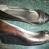 Bandolino Women Slip on Shoe Size 6 Medium Muted Silver Leather Wedge Heel 1.5'' Photo