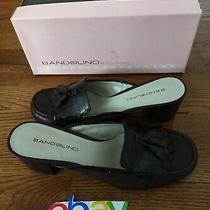 Bandolino Women Sz 7.5 Brown Mule Open Back Heel Shoes Tassel Leather Flatgreat  Photo