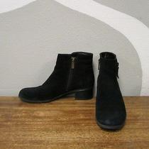 Bandolino Womens 6.5 Black Suede Leather Side Zip Ankle Booties Boots Photo