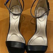 Bandolino Womens Black Leather-Looking Dress Sandals Shoes Strappy Heels - New Photo