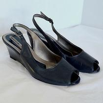 Bandolino Womens Blue Strappy Slip on Wedge Heel Peep Toe Pumps Dress Shoe 6.5 M Photo