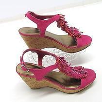 Bandolino Womens Fuschia Pink Orange T Strap Fringe Platform Wedge Heels 7.5 Photo