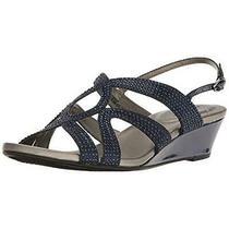 Bandolino Womens Gomeisa Navy Wedge Dress Sandals Shoes 8 Medium (Bm) Bhfo 6823 Photo