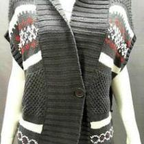 Bandolino Womens L Basic Button Sweater Graphite Combo Gray Ladies Designer Nwd Photo