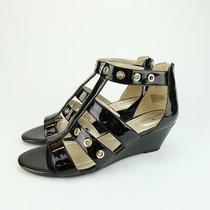 Bandolino Womens Olegga Black Silver Wedge Sandals Size 8.5 M Photo
