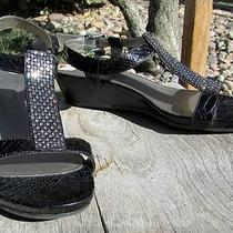 Bandolino Womens Sz 7 M Black Croc Sandals Wedge Shoes  Sparkle Top Decor Photo