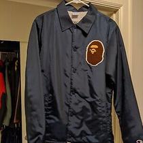 Bape X Champion Sherpa Coach Jacket Navy Blue Sz Medium M Authentic Photo
