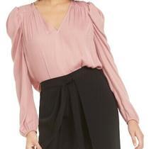 Bar Iii Women's Blouse Blush Pink Size Xxl Puff Sleeve v-Neck Keyhole 49 212 Photo