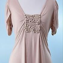 Baraschi 128 Anthropologie Blush Pink Cap Sleeve Knot Detail Tunic Top Size S Photo