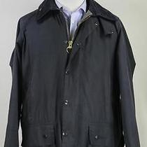 Barbour 'Beaufort' Navy Blue Waxed Barn Jacket W/ Hood & Lining C42/107 Cm Photo