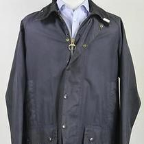 Barbour 'Beaufort' Navy Blue Waxed Cotton Barn Jacket C42/107cm/l Photo