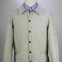 Barbour Beige 'Classic Eskdale' Diamond Quilted Barn Jacket Coat Men's Small Photo