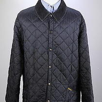 Barbour  Black 'Liddesdale' Diamond Quilted Barn Hunting Jacket Men's Xl Photo