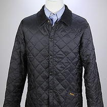 Barbour  Black 'Liddesdale' Diamond Quilted Barn Jacket Coat Men's Small Photo