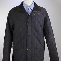 Barbour  Black Microfiber Diamond Quilted 'Hampton Quilt' Barn Jacket Large Photo