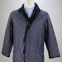 Barbour Black Microfiber Polarquilt Quilted Barn Jacket Men's Long Small Photo