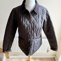 Barbour Brown Quilted Jacket Coat Rose Print Lining Size 14 Floral Country Photo