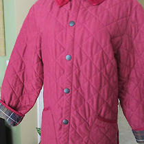 Barbour Burgundy Wine Quilted Barn Jacket Plaid Lining Corduroy Collar Medium   Photo