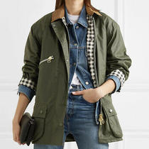 Barbour by Alexachung Edith Waxed Jacket Olive Green - Worn by Royalty Size 6  Photo
