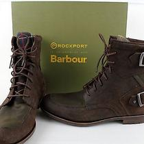 Barbour by Rockport Moc Toe Buckle Raize Sage Brown Leather Ankle Boots Size 10 Photo