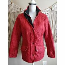 Barbour Cavalary Polarquilt Red Quilted Womens Jacket Size 8 Photo