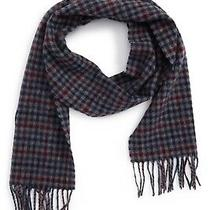 Barbour Classic Tweeds Check Wool Scarf in Navy/merlot 70x10 Nwt Made in Uk Photo