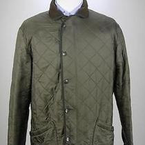 Barbour Dark Green Diamond Quilted Fleece Lined Barn Jacket Men's Medium Long Photo