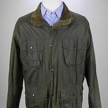 Barbour Dark Green 'Flyweight Wax Utility' Waxed Barn Jacket Coat Large Photo