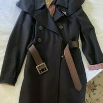 Barbour Double Breasted Navy Wool Coat Military-Esque W Belt & Shawl Wom S 6 Photo
